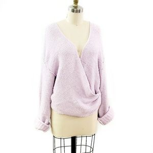 Free People // Soft Lilac Over-Sized Wrap Sweater